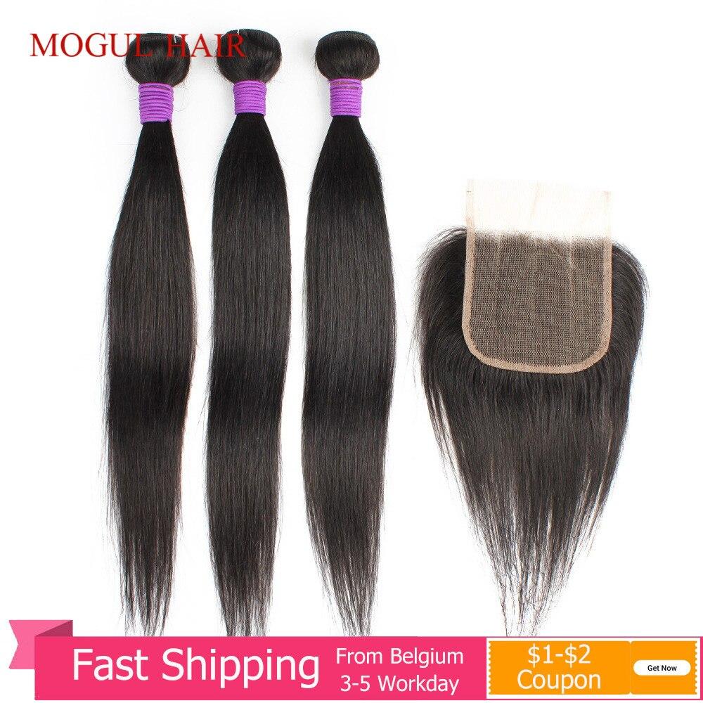 Mogul Hair 3 Bundles with Closure 200g/set Black Color Straight Hair Weave 12-22 inch Brazilian Non-Remy Human Hair